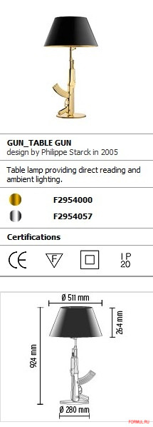 Настольная лампа Flos Gun_Table Gun