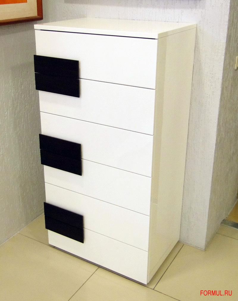 Комод Spar Unica из коллекции Unica - цвет белый лак, ручки цвета wenge