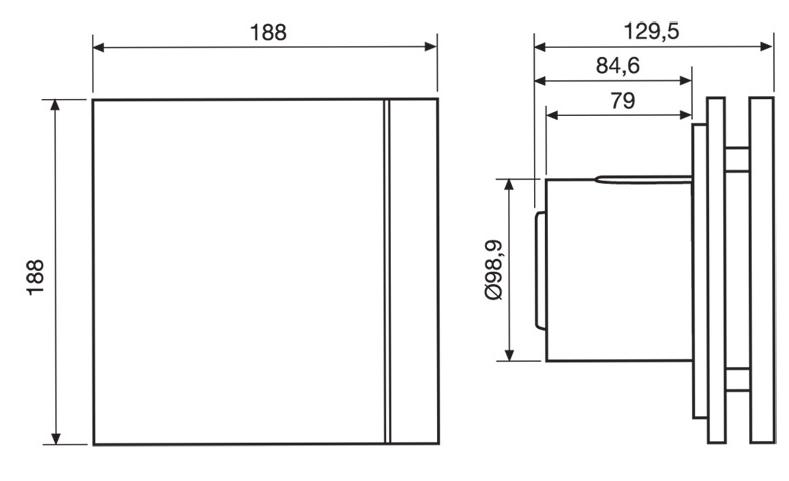 Габаритные размеры Soler & Palau SILENT-100 DESIGN Barcelona 3C