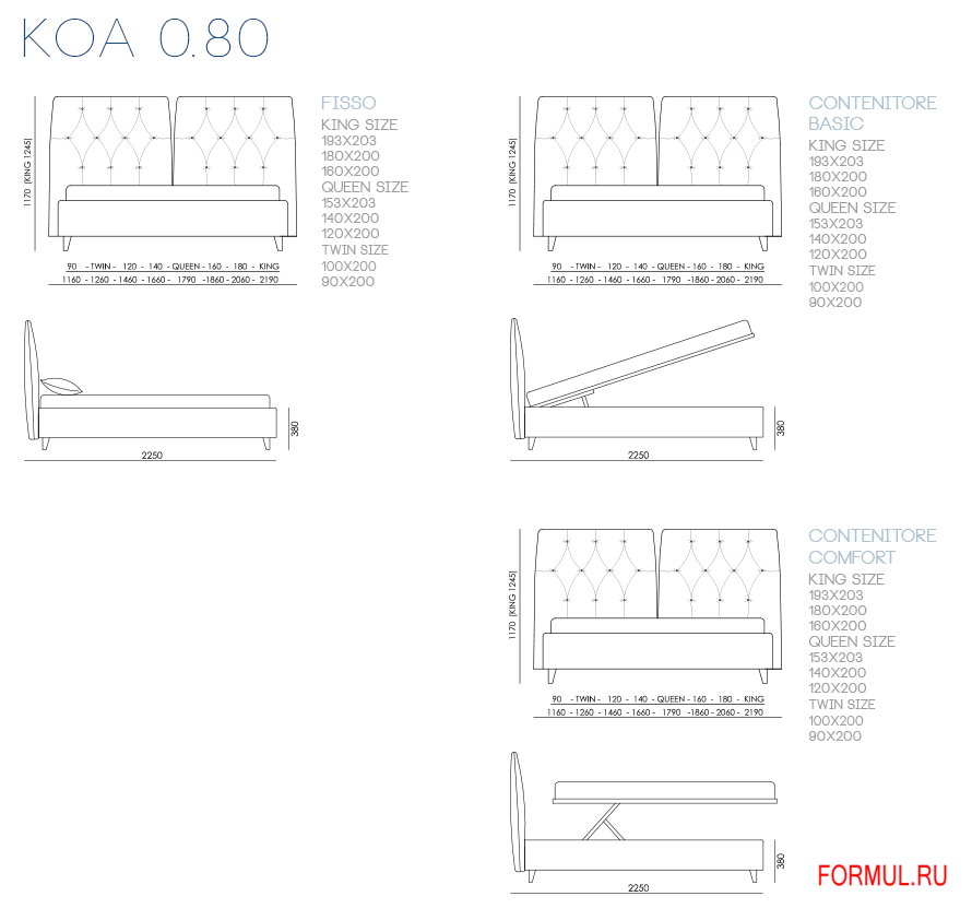 Кровать Bontempi Casa KOA 0.80