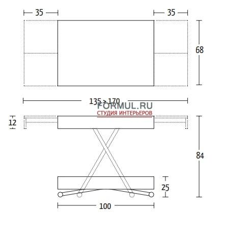 Стол трансформер Altacom COMPACT AT031 N35/M10